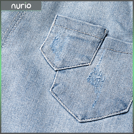 Pantalon denim albastru cu elastic in talie8