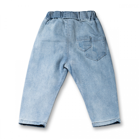Pantalon denim albastru cu elastic in talie7