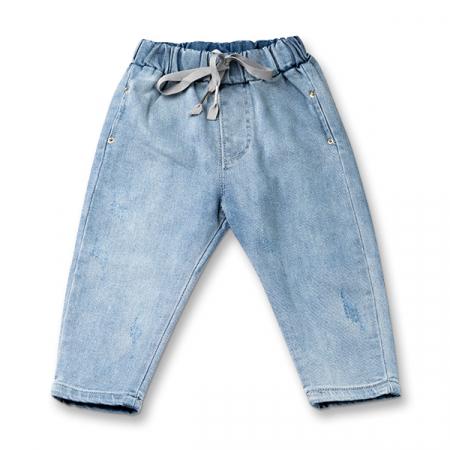 Pantalon denim albastru cu elastic in talie6