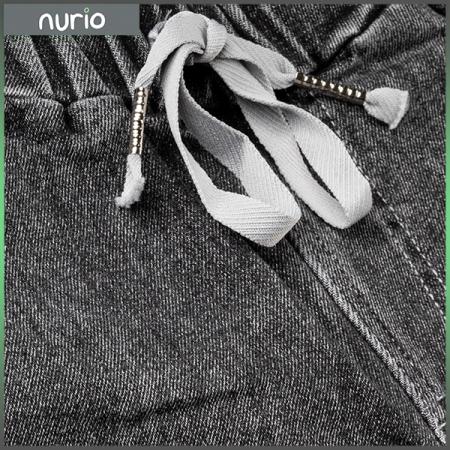 Pantaloni denim negru cu elastic in talie8