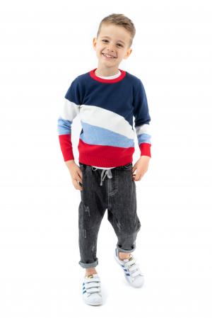 Pantaloni denim negru cu elastic in talie3