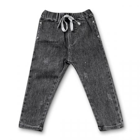 Pantaloni denim negru cu elastic in talie6