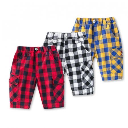 Pantaloni in carouri din  bumbac culori galben si albastru3