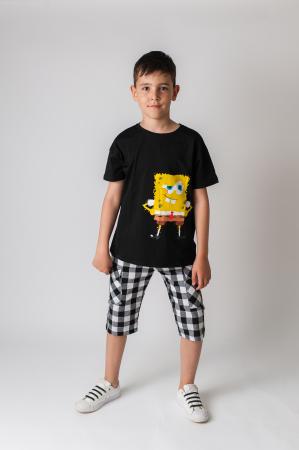 Pantaloni in carouri din  bumbac culori alb si negru [3]