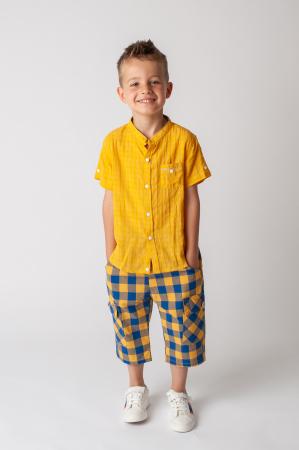 Pantaloni in carouri din  bumbac culori galben si albastru0
