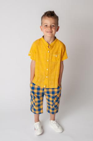 Pantaloni in carouri din  bumbac culori galben si albastru1