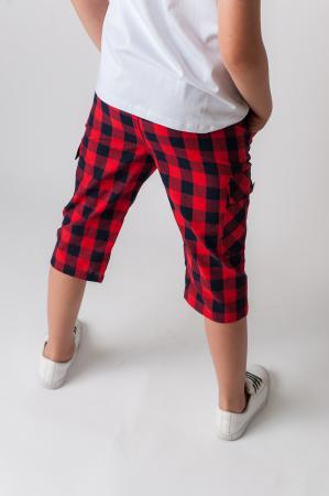 Pantaloni in carouri din  bumbac culori rosu si negru [2]