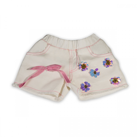 Pantaloni scurti albi cu paiete roz0