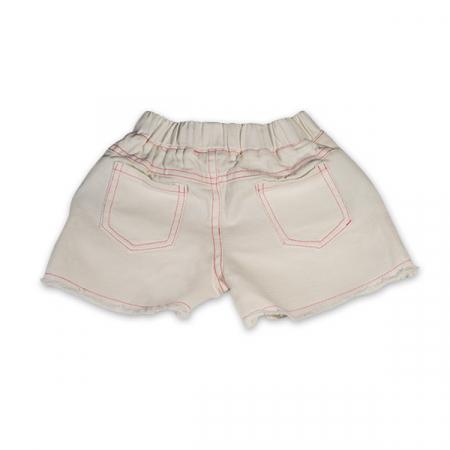Pantaloni scurti albi cu paiete roz1