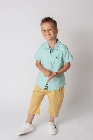 Pantaloni  trei sferturi cu manseta culoare galben mustar1