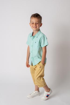 Pantaloni  trei sferturi cu manseta culoare galben mustar0