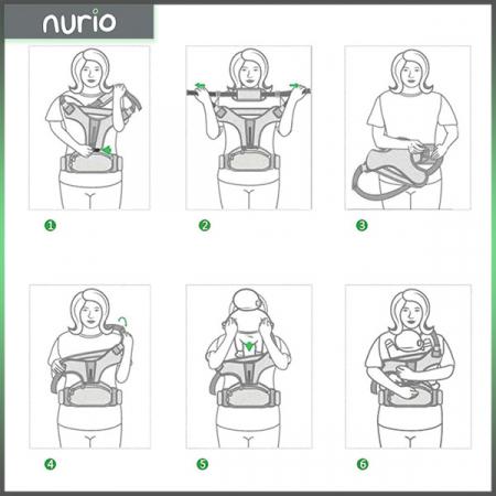 Port bebe ergonomic cu scaunel caramiziu [2]
