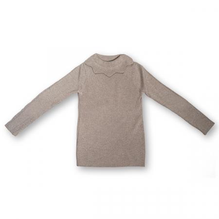 Pulover Simplu din Tricot  cu Volănaș0