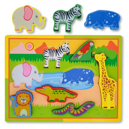 Puzzle 3D din lemn cu  animale salbatice0