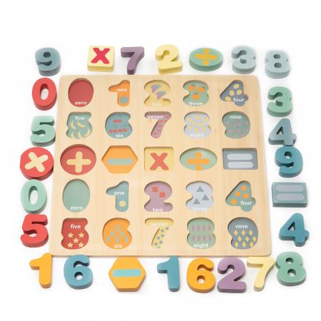 Puzzle 3D din lemn cu cifre si simboluri1
