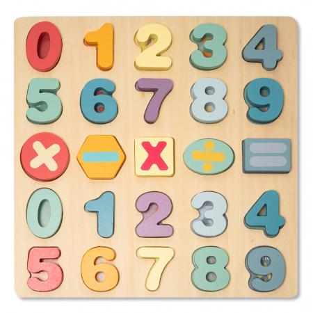Puzzle 3D din lemn cu cifre si simboluri0