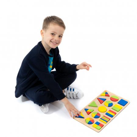 Puzzle 3D din lemn cu forme geometrice colorate [1]
