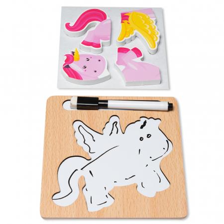 Puzzle 3D din lemn cu stilou - unicorn1