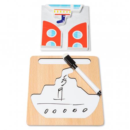 Puzzle 3D din lemn cu stilou - vapor1