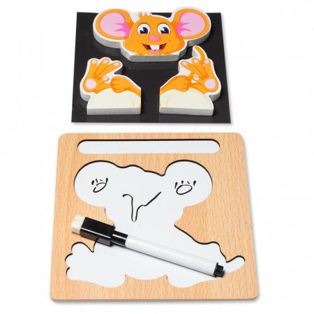 Puzzle 3D din lemn cu stilou - soricel1