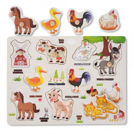 Puzzle din lemn cu pui de animale domestice [0]