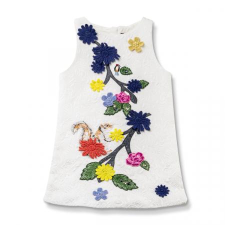 Rochie alba din brocart cu flori si pietricele [0]
