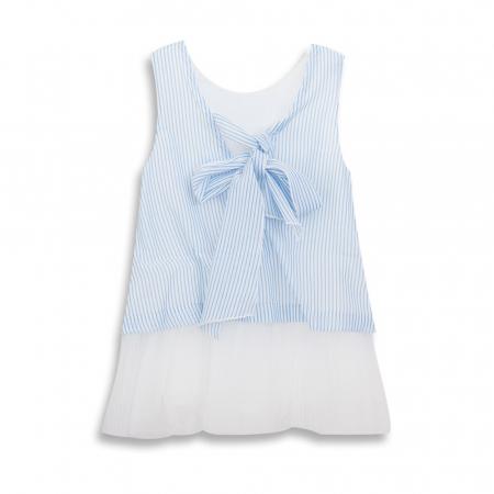 Rochie cu dungi albastre si flori cu blanita1