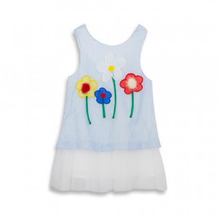 Rochie cu dungi albastre si flori cu blanita0