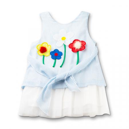 Rochie cu dungi albastre si flori cu blanita3