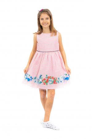 Rochie cu dungi, imprimeu floral si tulle [1]