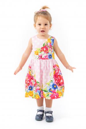 Rochie cu imprimeu floral si buline0