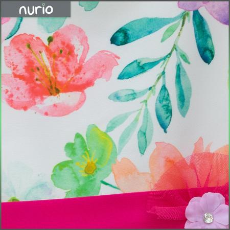 Rochie Cu Imprimeu Floral Multicolor Si Cordon Culoare Fucsia2