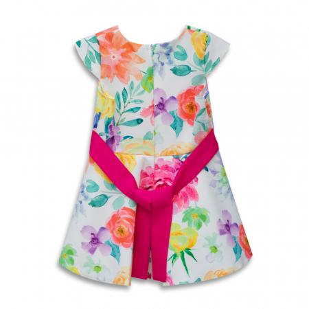 Rochie Cu Imprimeu Floral Multicolor Si Cordon Culoare Fucsia1