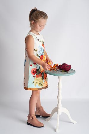Rochie din brocart cu flori3