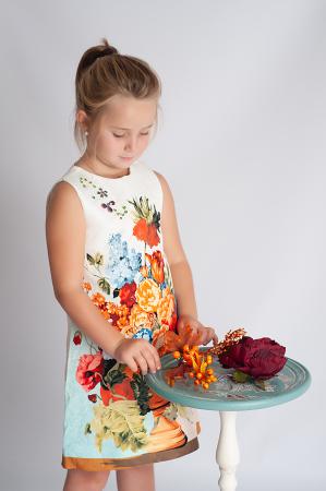 Rochie din brocart cu flori2