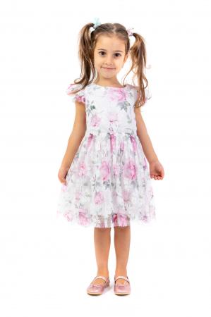 Rochie eleganta cu tulle imprimat cu flori0