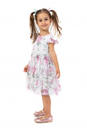 Rochie eleganta cu tulle imprimat cu flori1