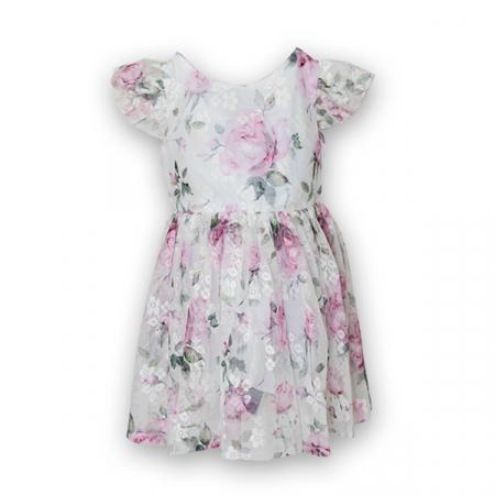 Rochie eleganta cu tulle imprimat cu flori2