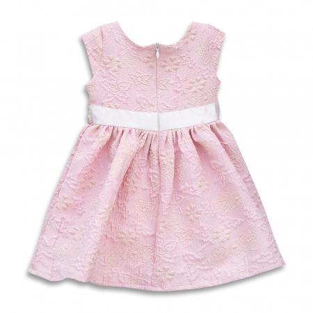 Rochie Eleganta Din Brocart Culoare Roz1