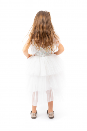 Rochie eleganta din tulle cu volanase si paiete2