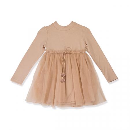 Rochie eleganta maro cu tulle si cordon6