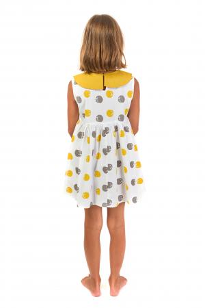 Rochie lejera din bumbac cu imprimeu si guler contrastant [3]