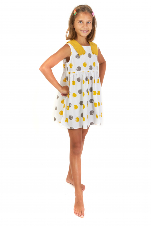 Rochie lejera din bumbac cu imprimeu si guler contrastant [0]