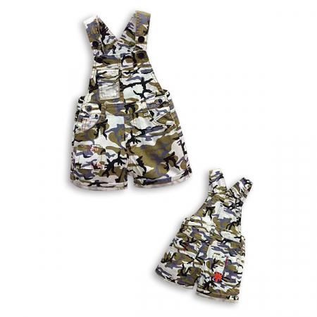 Salopeta cu imprimeu camuflaj din denim cu bretele [1]