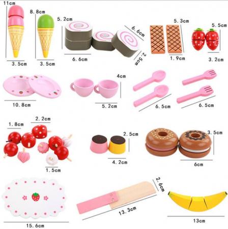 Set de înghețată, dulciuri și ceai din lemn în cutie roz cu căpșună2
