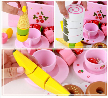 Set de înghețată, dulciuri și ceai din lemn în cutie roz cu căpșună1