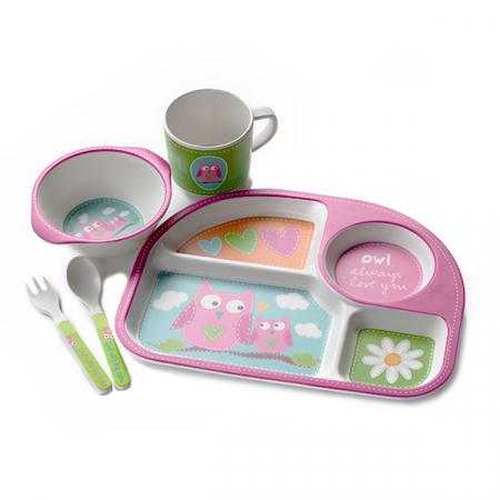 Set de masa alb si roz pentru copii din 5 piese0
