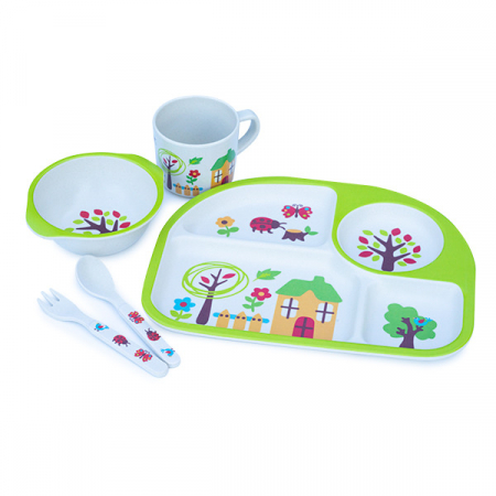 Set de masa alb si verde pentru copii din 5 piese0
