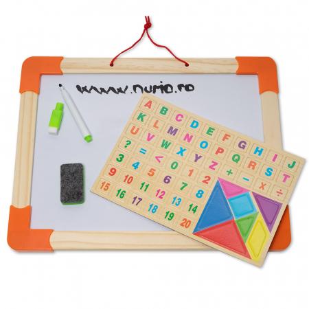 Tabla magnetica multifunctionala din lemn cu accesorii [0]