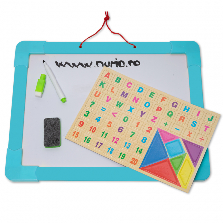 Tabla magnetica multifunctionala din lemn cu accesorii1